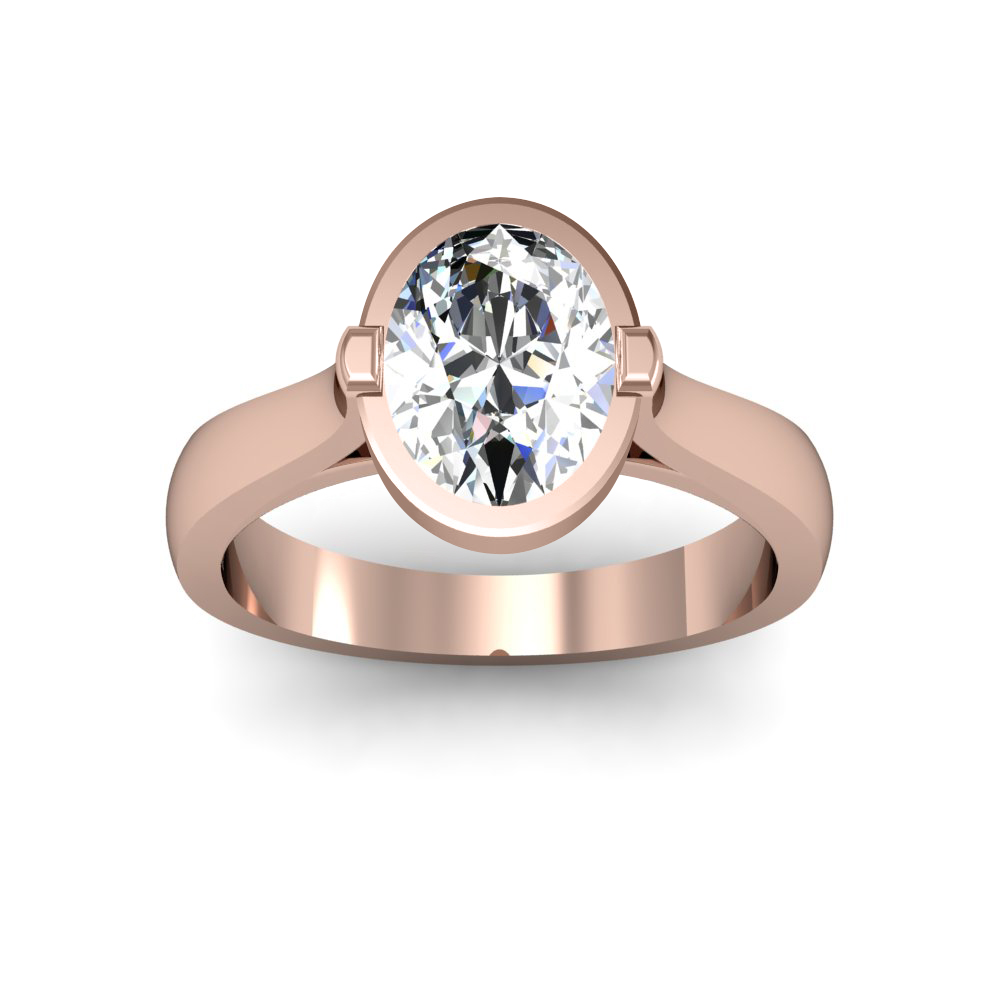3mm Bezel Setting Solitaire Natural Diamonds Ring