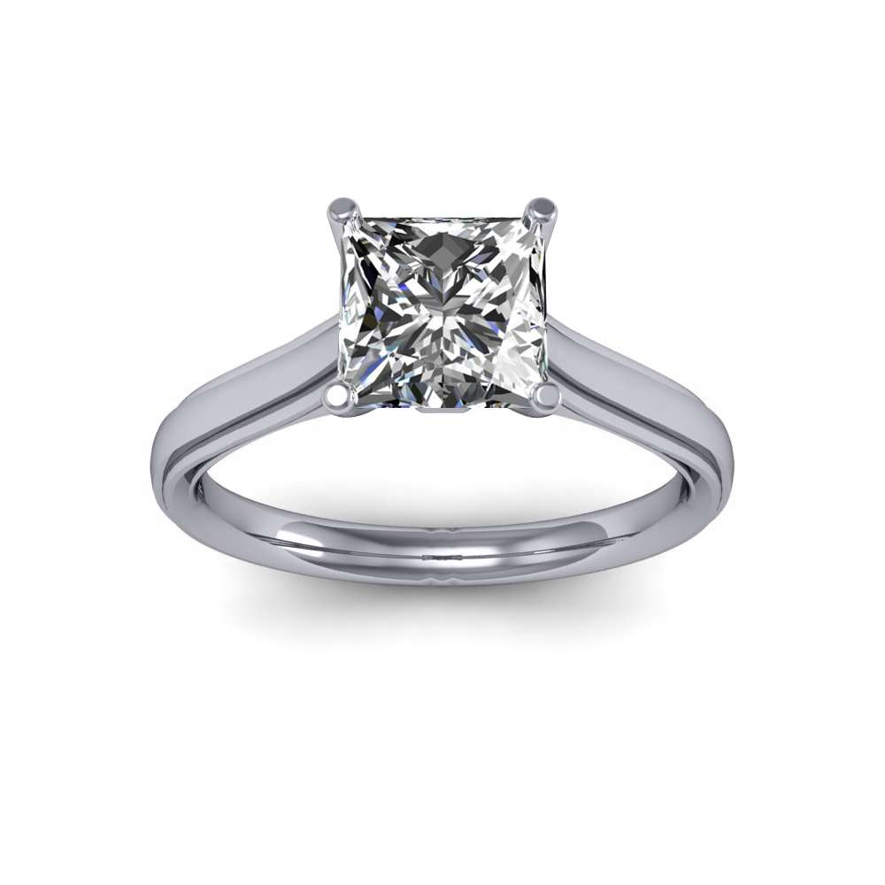 Solitaire Beveled Diamond Engagement Ring