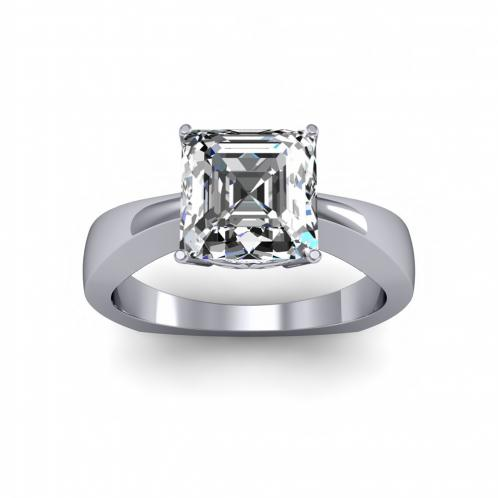 Solitaire with Round Accent Engagement Ring