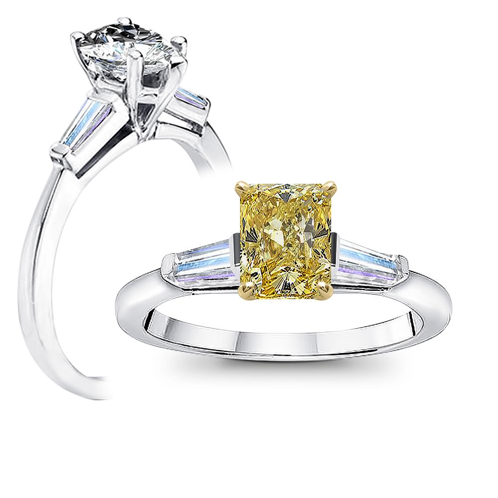 Three Stone Baguettes Diamond Engagement Ring