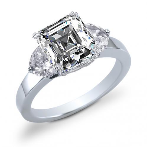 Three Stone with Half Moon Sidestone Diamond Engagement Ring