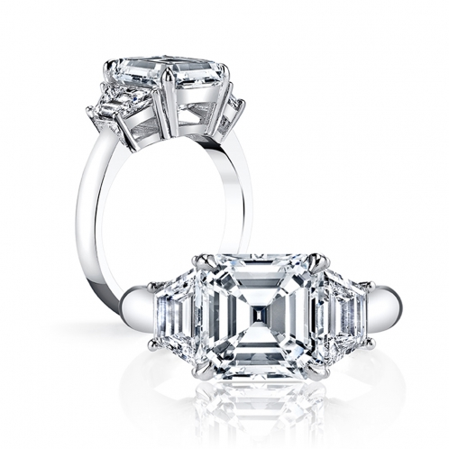 3-Stone with Trapezoid Sidestones Diamond Ring