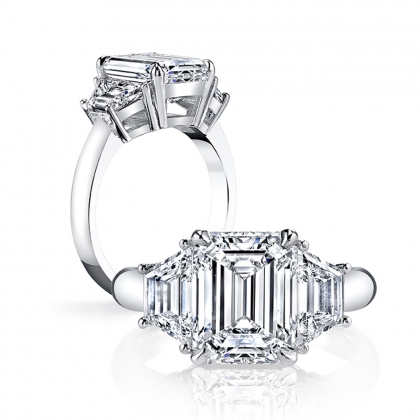 Emerald cut Three Stone Engagement Rings