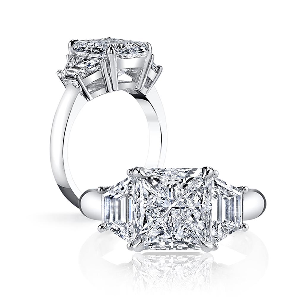 3-Stone with Trapezoid Sidestones Diamond Ring