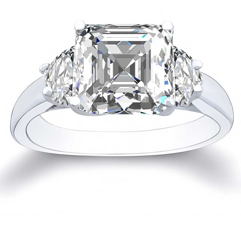 1a3c84acbbddb 1.90ct. natural diamond asscher cut 3-stone with half moon sidestones  diamond ring 14k white gold gia