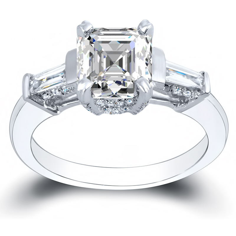 3-Stone w/ Baguette & Pave Natural Diamonds Engagement Ring