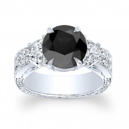 Euro Shank Black Diamond Engagement Rings