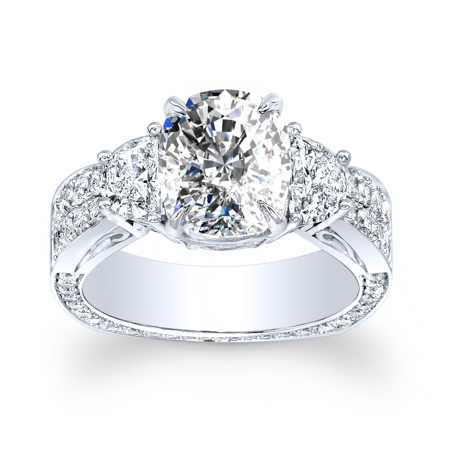 3-Stone Pave Side Profile Art Deco w/ Half-Moon Sidestones Diamond Ring