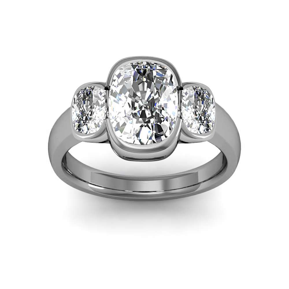 Bezel Setting w Cushion Cut Sidestones Diamond Ring