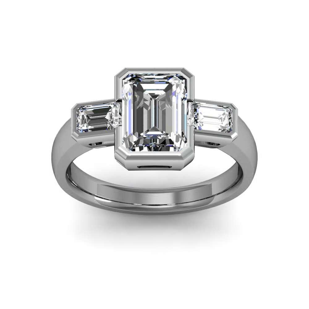 Bezel Setting w Emerald Cut Sidestones Diamond Ring