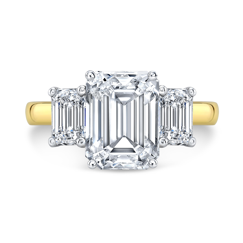 3 Stone Emerald Diamond Engagement Ring