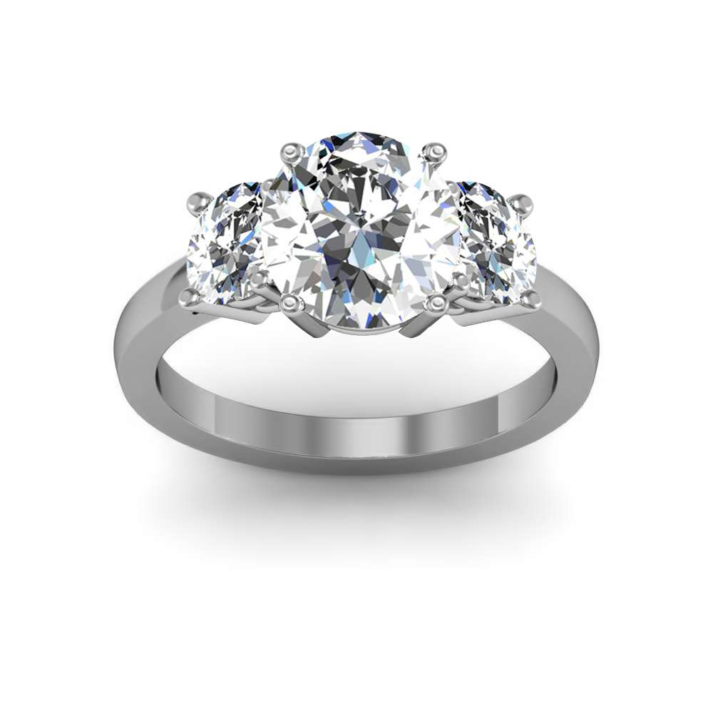 4 Prong 3 Stone with Oval Cut Sides Diamonds Engagement Ring