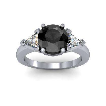 Trillion Accents Black Diamond Engagement Rings