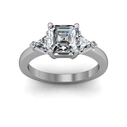 Trillion Accents Three Stone Engagement Rings