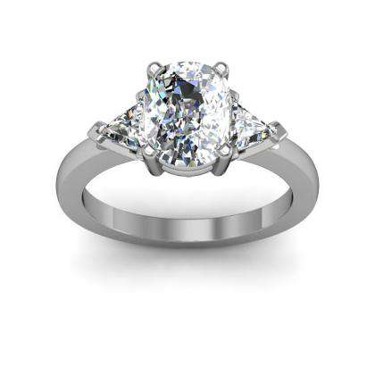 Trillion Accents Cushion cut Engagement Rings
