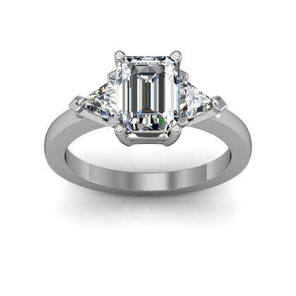 Trillion Accents Emerald cut Engagement Rings