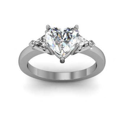 Trillion Accents Heart Shape Engagement Rings