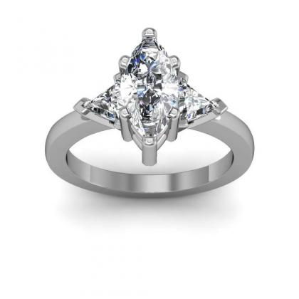 Trillion Accents Marquise cut Engagement Rings