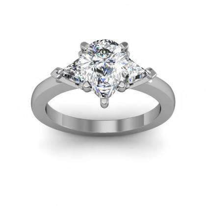Trillion Accents Pear cut Engagement Rings