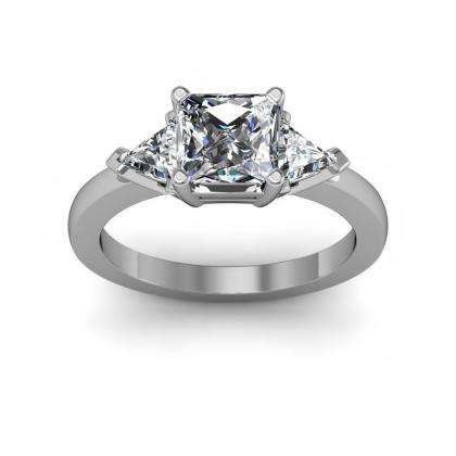 Trillion Accents Princess cut Engagement Rings