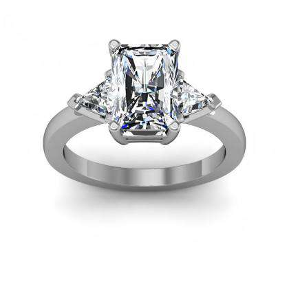 Trillion Accents Radiant cut Engagement Rings