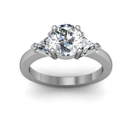 Trillion Accents Round cut Engagement Rings