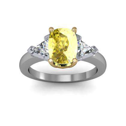 Trillion Accents Yellow Diamond Engagement Rings