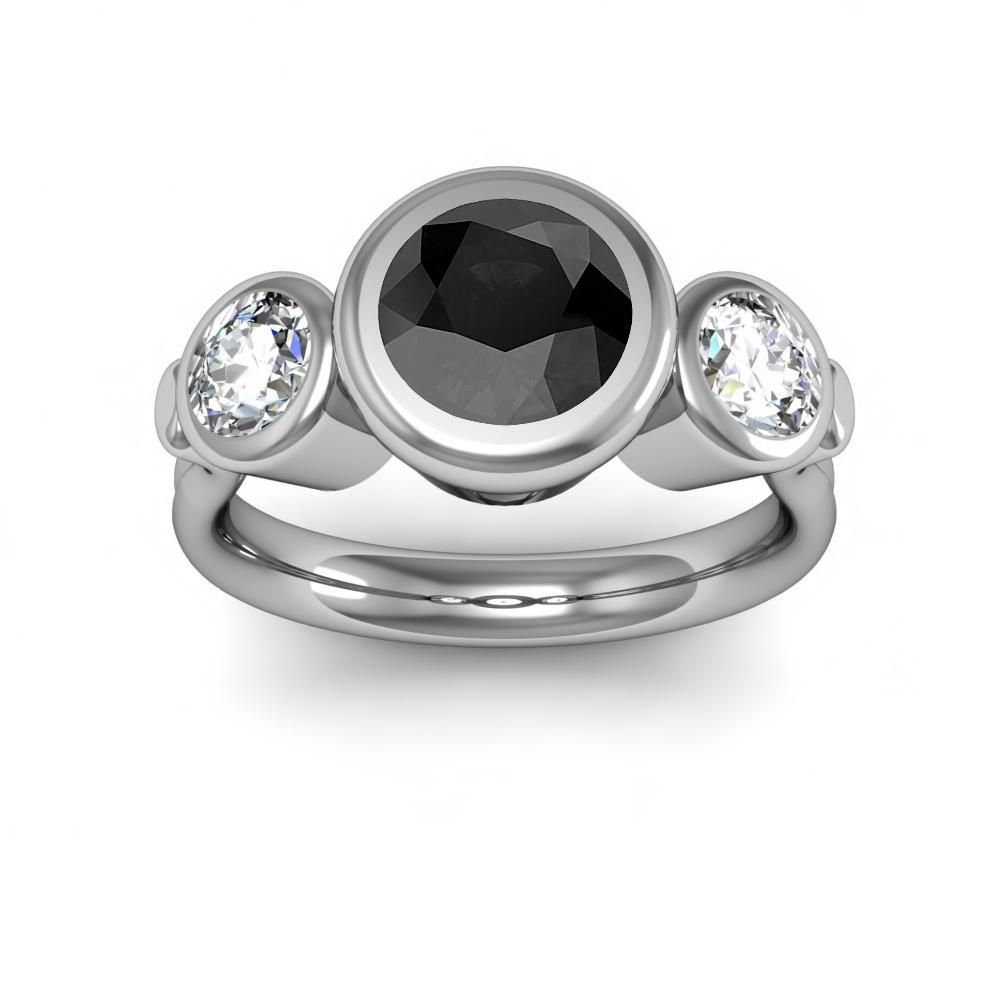 Three Stone Bezel Set Diamond Engagement Ring