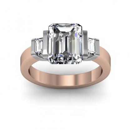Bar Set Rose Gold Engagement Rings