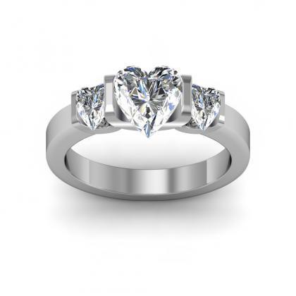 Hearts Bezel Set Engagement Rings