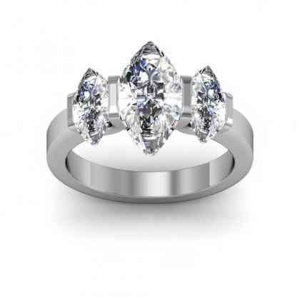 150ct natural diamond marquise cut bar setting w marquise cut sidestones 3 stone band 14k white gold gia - Stone Wedding Rings