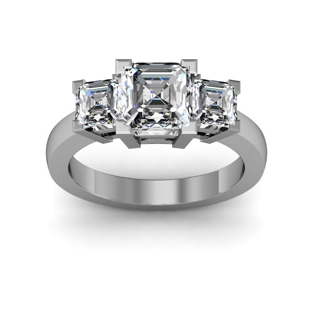3 Stone w/ Asscher Cut Sidestones Diamonds Engagement Ring
