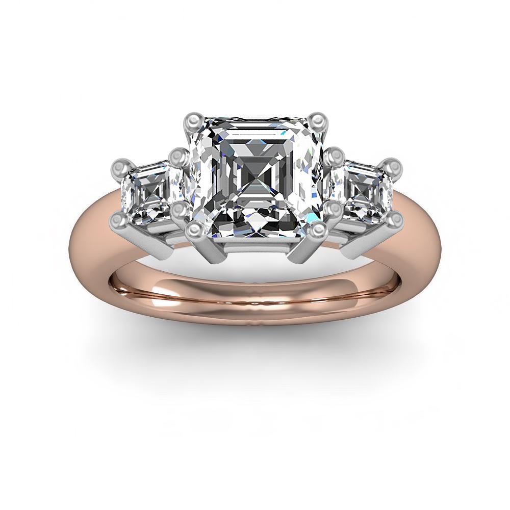 3 Stone Asscher Diamond Engagement Ring