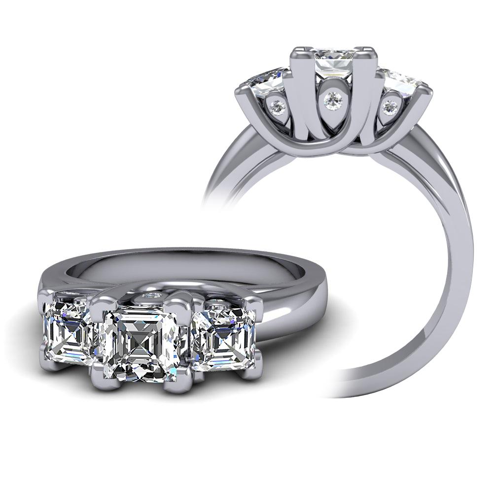 Three Stone Trellis with Accent Stones Diamond Engagement Ring