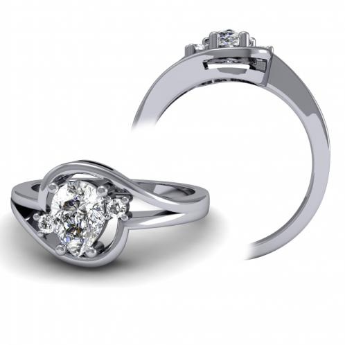 Modern Curvilinear Three Stone Diamond Engagement Ring