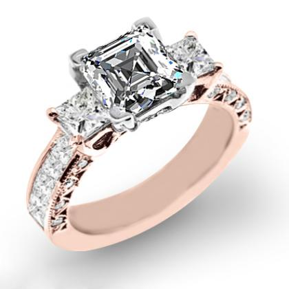 2.4ct. natural diamond asscher cut natural three stone channel set with princess cut sidestones diamond engagement ring 18k rose gold gia