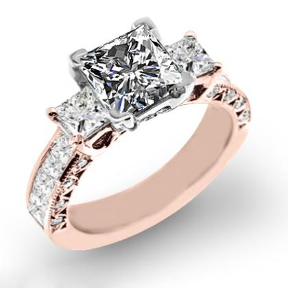 2.1ct. natural diamond princess cut natural three stone channel set with princess cut sidestones diamond engagement ring 18k rose gold gia