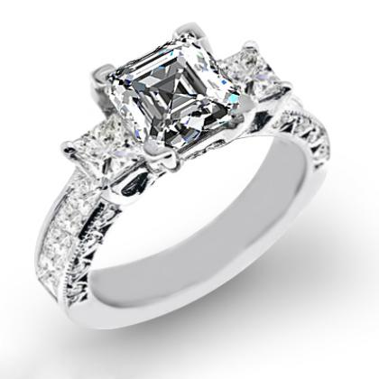 2.1ct. natural diamond asscher cut natural three stone channel set with princess cut sidestones diamond engagement ring 14k white gold gia