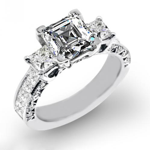 Natural 3-Stone Channel Set with Princess Cut Sidestones Diamond Engagement Ring