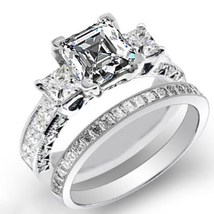 4.5ct. natural diamond asscher cut natural three stone channel set with princess cut sidestones diamond engagement ring 18k white gold gia