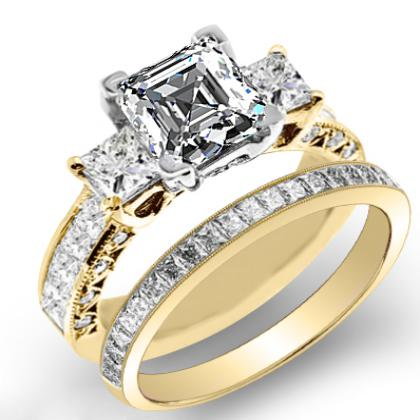 3.5ct. natural diamond asscher cut natural three stone channel set with princess cut sidestones diamond engagement ring 14k yellow gold gia