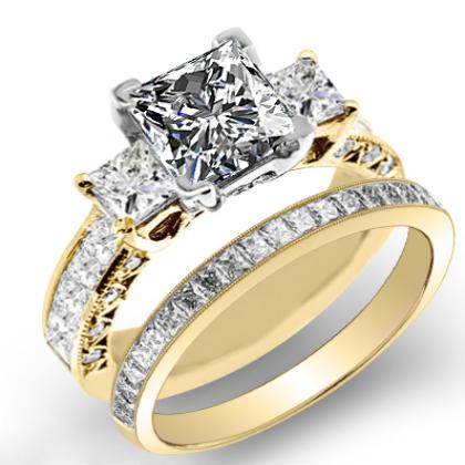 4.3ct. natural diamond princess cut natural three stone channel set with princess cut sidestones diamond engagement ring 18k yellow gold gia