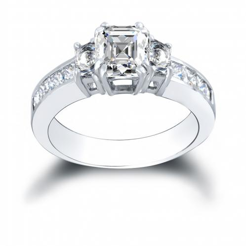 3-Stone w/ Asscher Sides Channel Diamond Ring