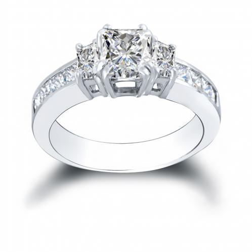 3-Stone w/ Princess Sides Channel Diamond Ring