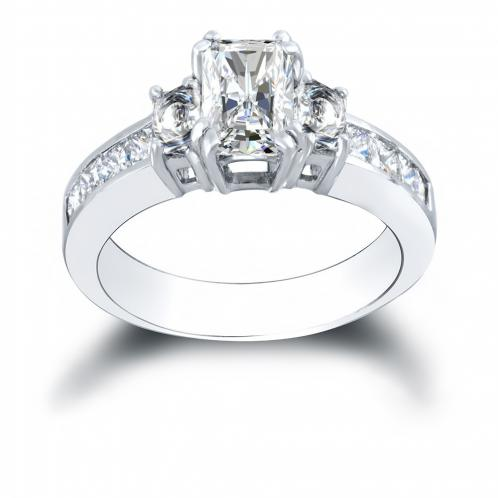 3-Stone Dual Claw Prong w/ Radiant Sides Channel Diamond Ring