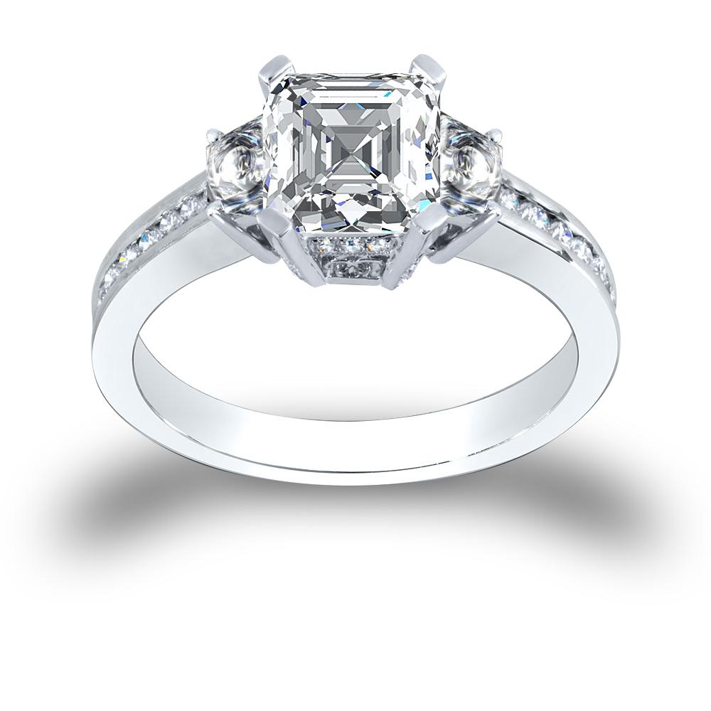 3-Stone 4-Prong Pave w/ Asscher Sidestones Diamond Ring