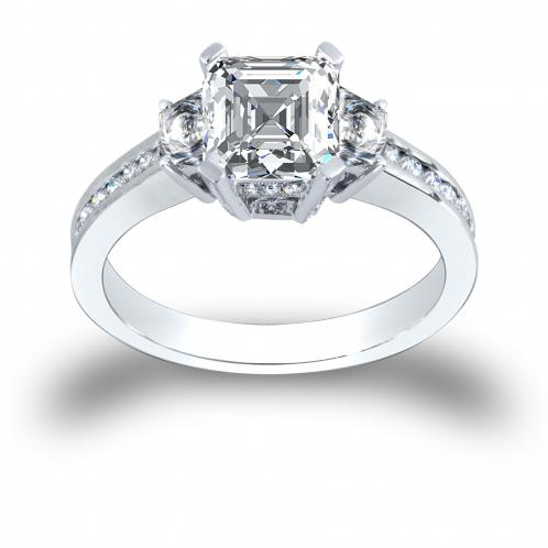 3-Stone 4-Prong Pave w/ Asscher Sidestones Diamond Ring