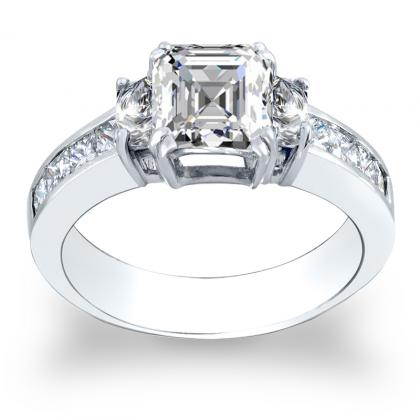 Trapezoid Accents Channel Set Engagement Rings