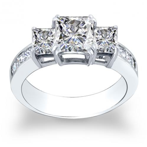 3-Stone Dual Claw Prong w/ Princess Sides Channel Diamond Ring