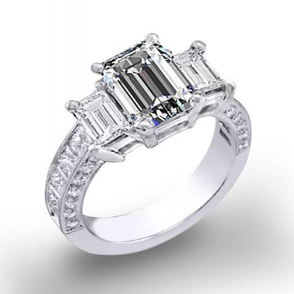 3.5ct. natural diamond emerald cut natural emerald 3-stone channel pave set diamond engagement ring  platinum gia